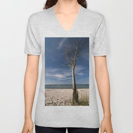 storm-tossed tree at the sea - Beach Ocean Unisex V-Neck