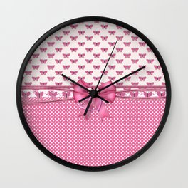 Dreamy Pink Butterflies Wall Clock