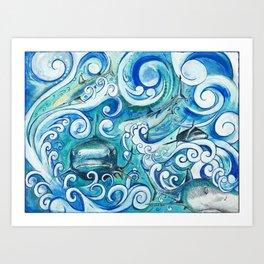 Shark wave Art Print