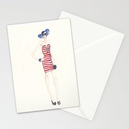 Stripes and Red Stationery Cards