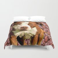 pitbull Duvet Covers featuring Pitbull on Pink Background by Whimsy Notions Designs
