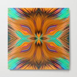 brown green pink and blue spiral line pattern abstract background Metal Print