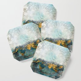 Lapis - Contemporary Abstract Textured Floral Coaster