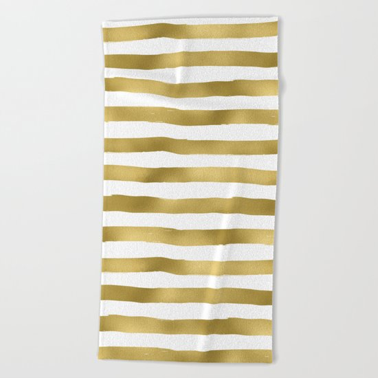 Gold stripes on clear white - horizontal pattern Beach Towel