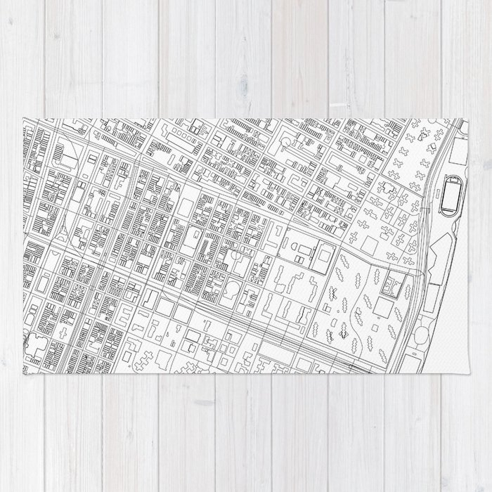 Lower East Side New York Map.Abstract Map Of New York City Manhattan Lower East Side Rug By
