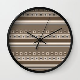 Squares and Stripes Geometric Design in Brown Wall Clock