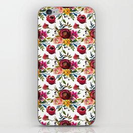 Red pink coral yellow watercolor modern floral iPhone Skin