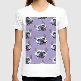 light purple dog pattern cute puppy french bulldog T-shirt