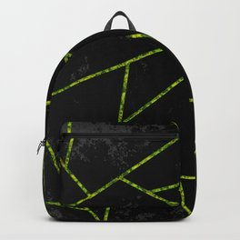 Abstract shapes with green lines and black gradient background Backpack