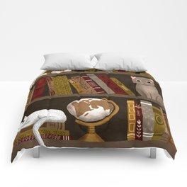 cat bookshelf Comforters