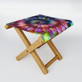Psychedelic Rainbow Swirl Folding Stool