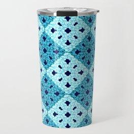 geometric blue pattern Travel Mug