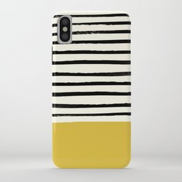 Mustard Yellow & Stripes iPhone Case