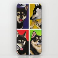 shiba inu iPhone & iPod Skins featuring Shiba Inu Pop Art by Sasha Rad