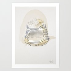 One line Battlestar Galactica Viper Helmet Art Print