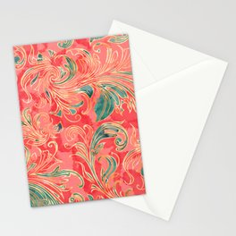 Watercolor exotic flowers Stationery Cards