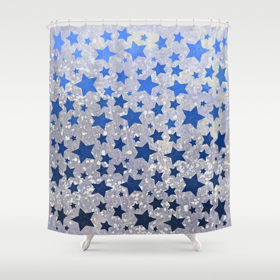 All Starsin Blue Shower Curtain By Lisa Argyropoulos