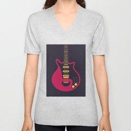 Glam Rock 70s Electric Guitar - Black Unisex V-Neck