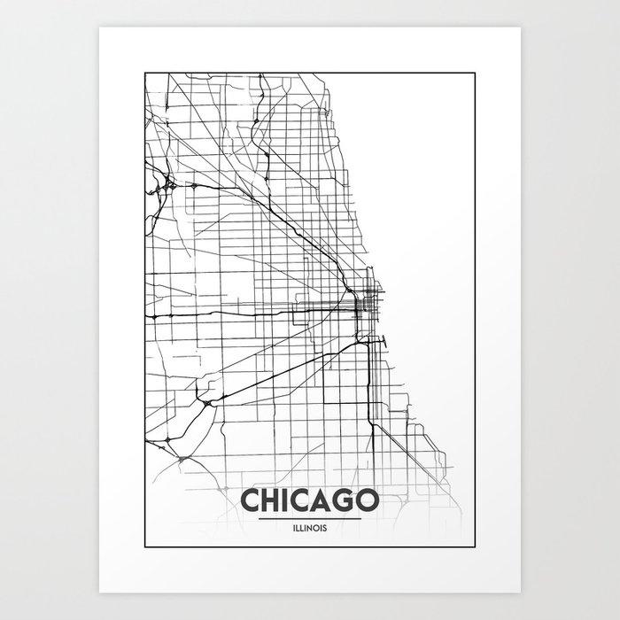 Minimal City Maps - Map Of Chicago, Illinois, United States Kunstdrucke