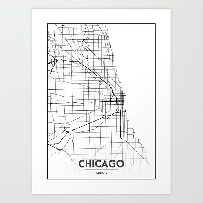 Minimal City Maps Map Of Chicago Illinois United States Art - Chicago-illinois-us-map