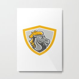 Bronco Horse Head Shield Metal Print