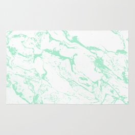 Trendy modern pastel mint green white marble pattern by Girly Trend Rug