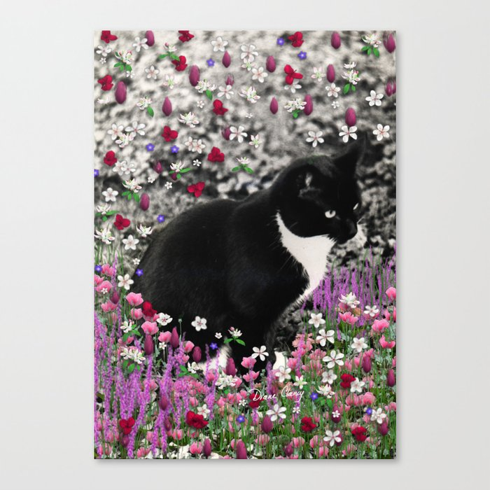 Freckles in Flowers II - Tuxedo Kitty Cat Canvas Print