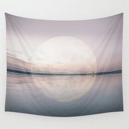Surreal Moon Over Calm Waters Wall Tapestry