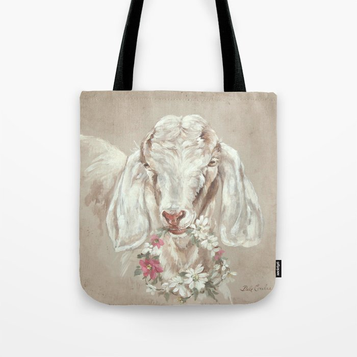 Goat with Floral Wreath by Debi Coules Tote Bag