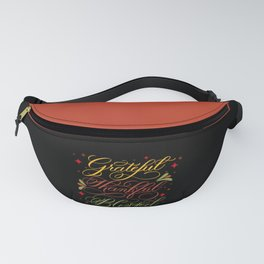 Grateful, Thankful, Blessed Design on Black Fanny Pack