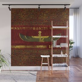 Golden Egyptian God Ornament on red leather Wall Mural