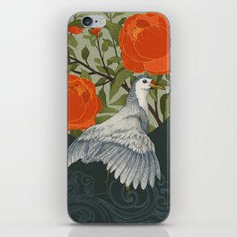 The bird and red flowers iPhone Skin