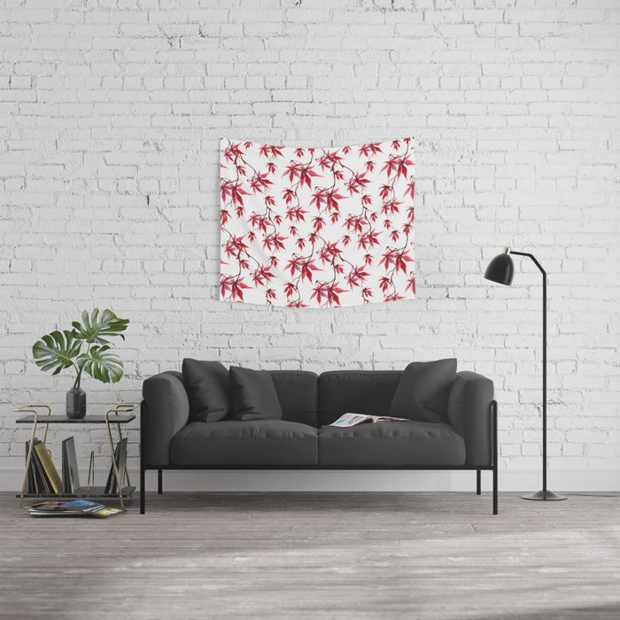 Watercolor Botanical Red Japanese Maple Leaves on Solid White Background Wall Tapestry