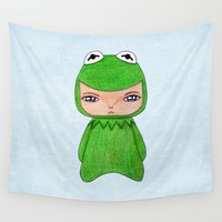 muppet Wall Tapestries featuring A Boy - Kermit the frog by Christophe Chiozzi
