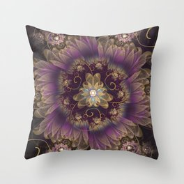 Bohemian Ruffled Feathers & Lavender Gypsy Flowers Throw Pillow