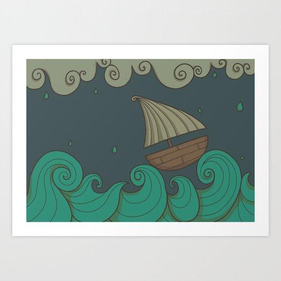 A Rainy Day at the Sea Art Print
