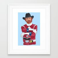 power ranger Framed Art Prints featuring Walker Texas Power Ranger by Emily Niland
