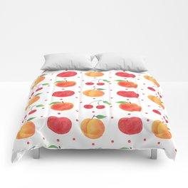 Summer orange red watercolor fruit polka dots pattern Comforters