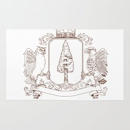Owl and Hawk Redwood Crown Crest Drawing Rug