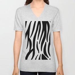abstract modern safari animal black and white zebra print Unisex V-Neck