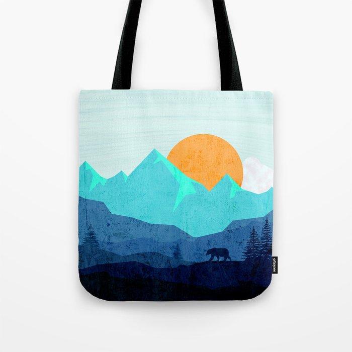 Wild mountain sunset landscape Tote Bag