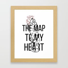 The Map To My Heart Framed Art Print