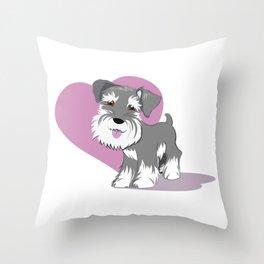 Miniature Schnauzer Puppy Dog Adorable Baby Love Throw Pillow