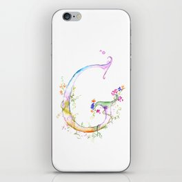 Letter G watercolor - Watercolor Monogram - Watercolor typography - Floral lettering iPhone Skin