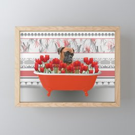 Boxer dog in red Bathtub with Tulips #society6 Framed Mini Art Print