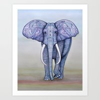 ornate elephant Art Prints featuring Ornate Elephant by Katelynn Clarey