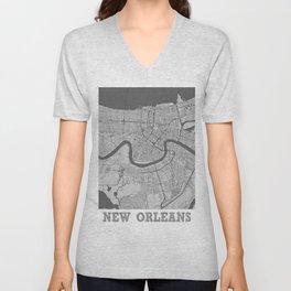 New Orleans Pencil City Map Unisex V-Neck