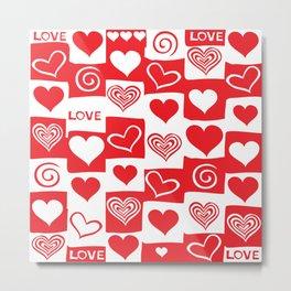 Love Pattern Text & Hearts Metal Print