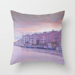 Venice in pastel, pink soft fluffy clouds over Venice, Italy Throw Pillow