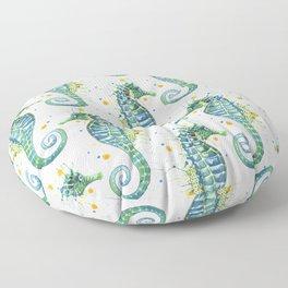 Seahorse: Green Floor Pillow